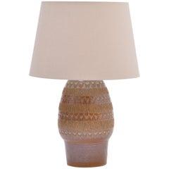 Brown Handmade Mid-Century Modern Danish Stoneware Table Lamp by Soholm Stentoj