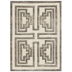 Brown Handwoven Wool and Silk Rug from Labyrinth Collection by Gordian