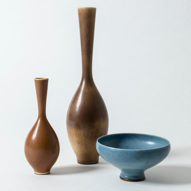 Swedish Brown Hare's Fur Stoneware Vase by Berndt Friberg for Gustavsberg, Sweden, 1950s For Sale
