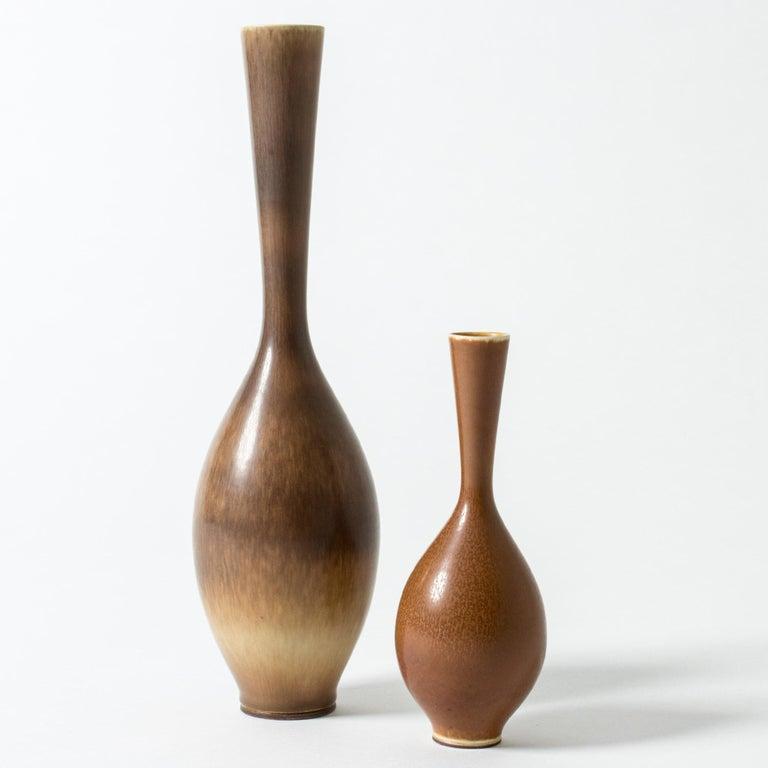 Brown Hare's Fur Stoneware Vase by Berndt Friberg for Gustavsberg, Sweden, 1956 In Good Condition For Sale In Stockholm, SE