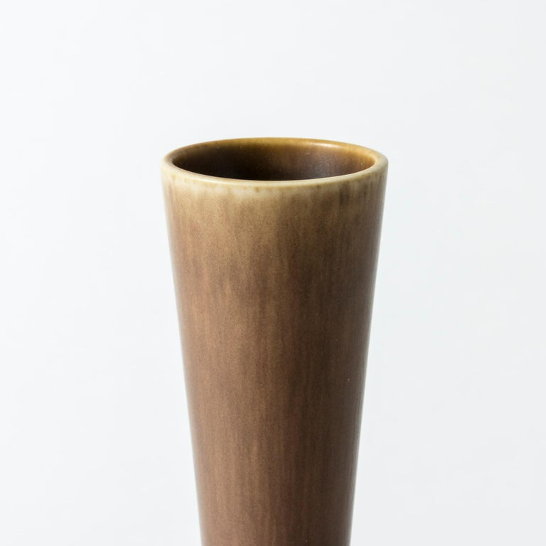 Mid-20th Century Brown Hare's Fur Stoneware Vase by Berndt Friberg for Gustavsberg, Sweden, 1956 For Sale