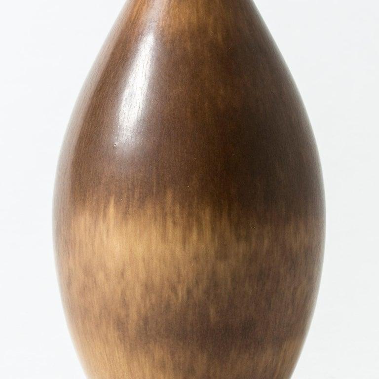 Brown Hare's Fur Stoneware Vase by Berndt Friberg for Gustavsberg, Sweden, 1956 For Sale 1