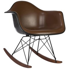 Brown Herman Miller Eames Upholstered RAR Rocking Arm Shell Chair