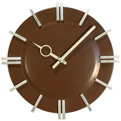 Brown Industrial Office Wall Clock from Pragotron, 1970s