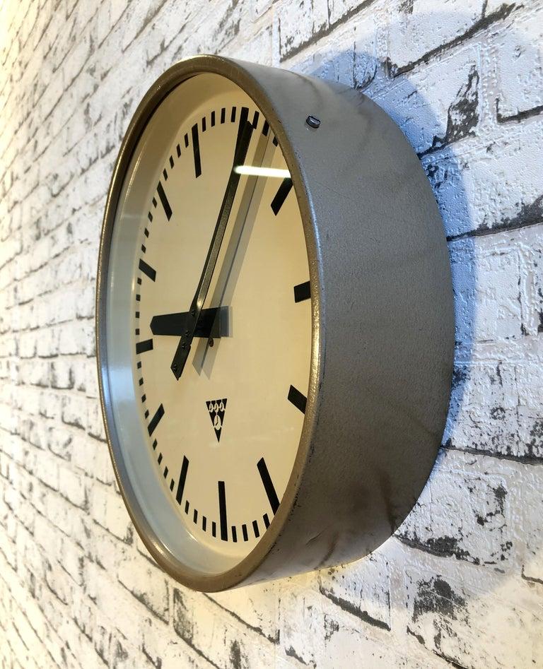 Czech Brown Industrial Wall Clock from Pragotron, 1960s