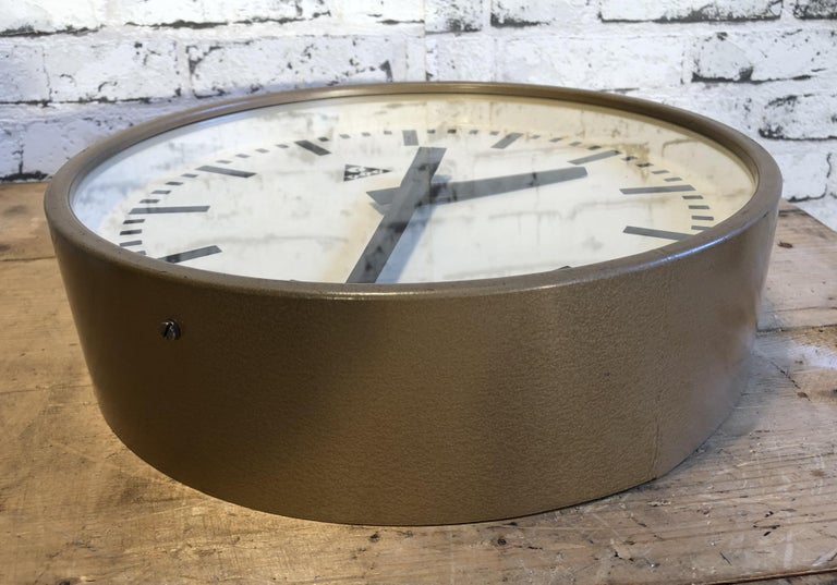 20th Century Brown Industrial Wall Clock from Pragotron, 1960s