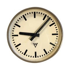 Brown Industrial Wall Clock from Pragotron, 1960s