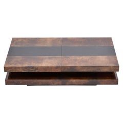 Brown Italian Two-Tiered Sliding Coffee Table with Hidden Bar by Aldo Tura