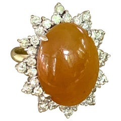 Brown Jade Oval Cabochon and Diamond 14 Karat Yellow & White Gold Ring-Sz 4 3/4