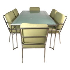 Brown Jordan Aluminum Dining Table with 6 Armchairs for Patio or Inside