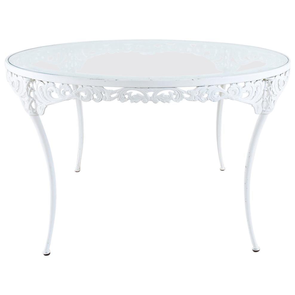 Brown Jordan Aluminum Neoclassical Round Patio Garden Dining Table