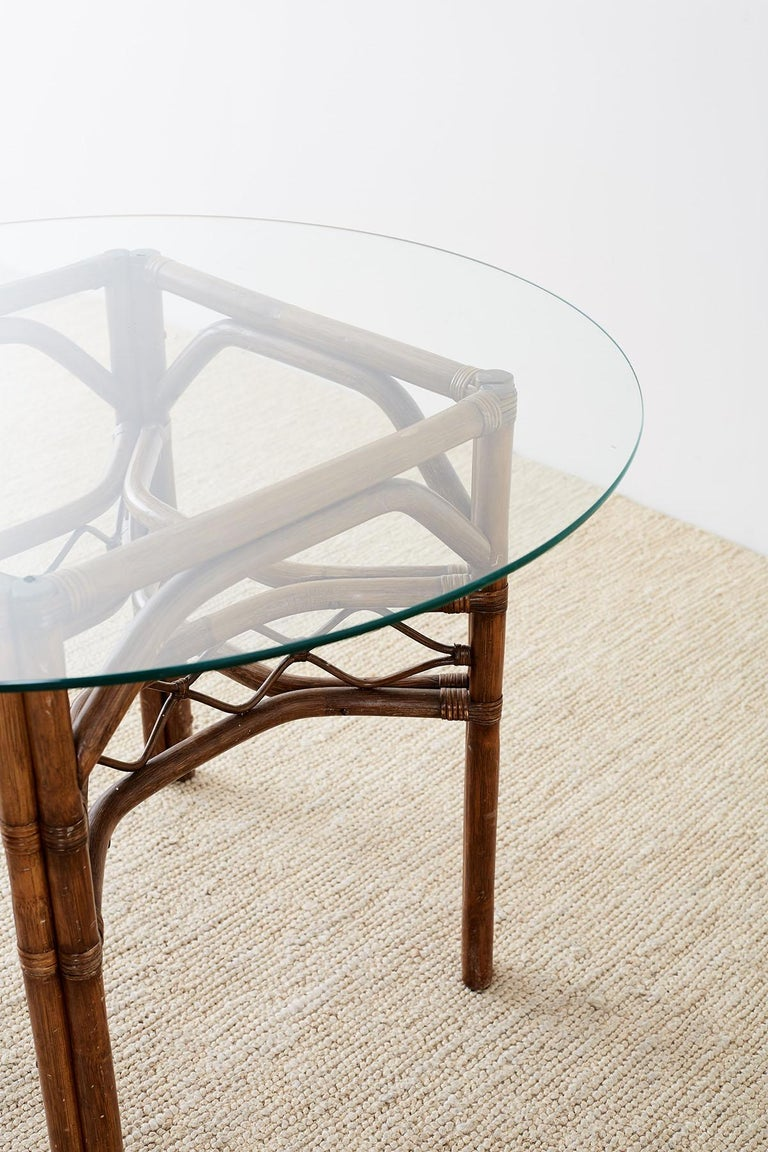 Brown Jordan Bamboo Rattan Glass Dining Table 6