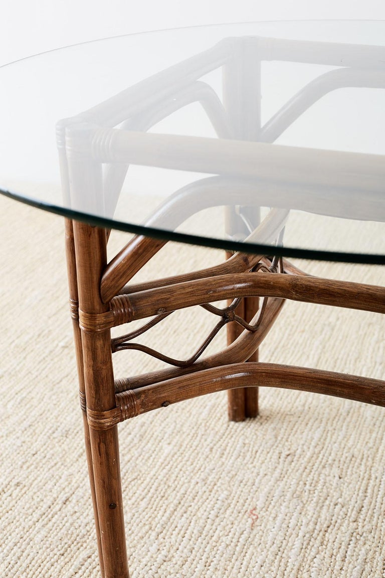 Brown Jordan Bamboo Rattan Glass Dining Table 9