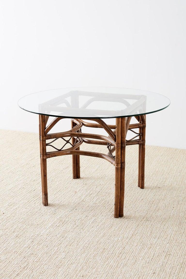 Organic Modern Brown Jordan Bamboo Rattan Glass Dining Table