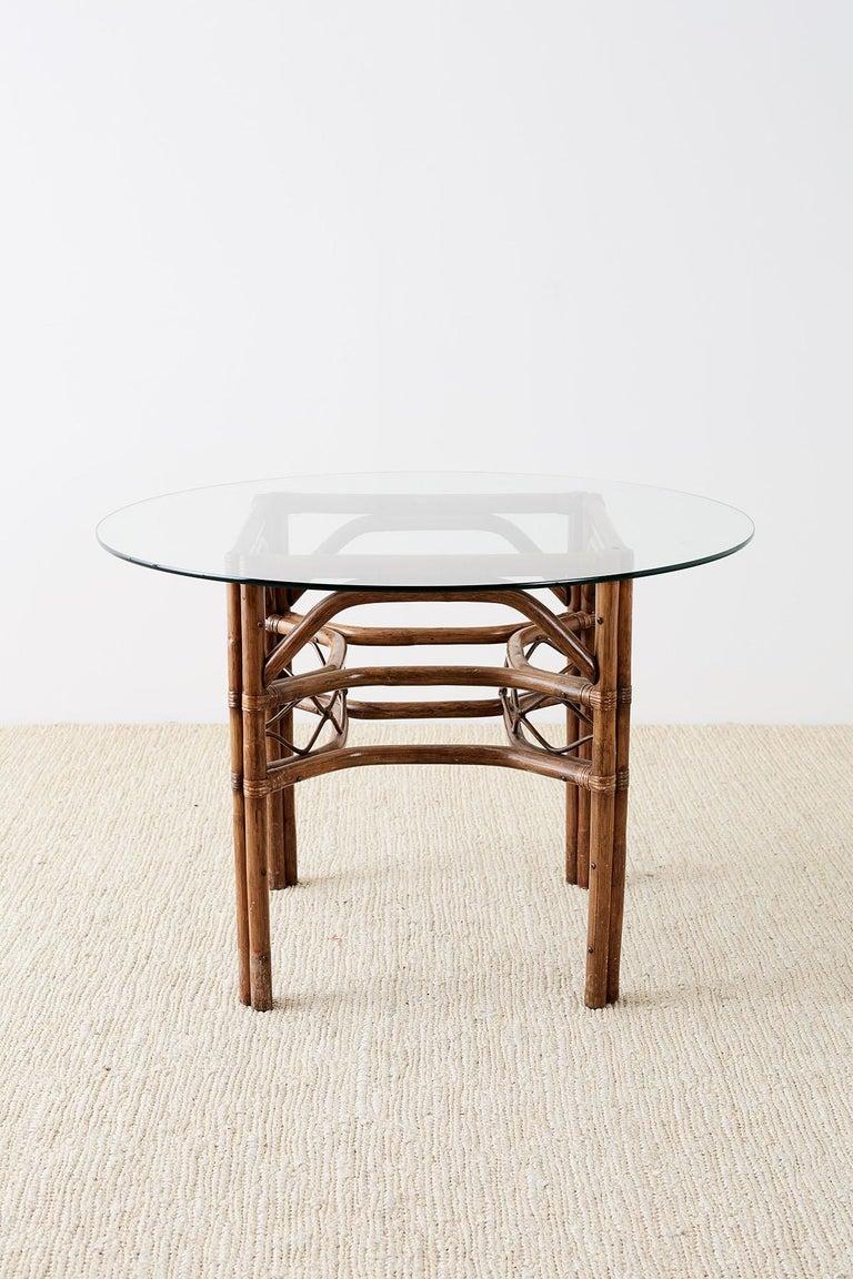 American Brown Jordan Bamboo Rattan Glass Dining Table