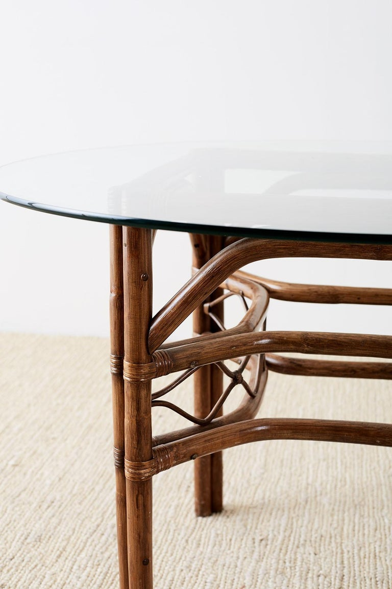 Hand-Crafted Brown Jordan Bamboo Rattan Glass Dining Table