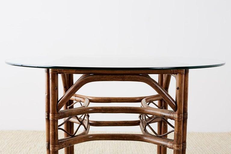 20th Century Brown Jordan Bamboo Rattan Glass Dining Table