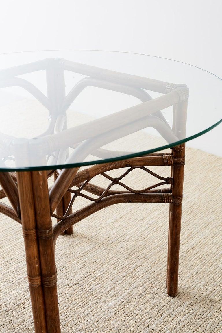 Brown Jordan Bamboo Rattan Glass Dining Table 1
