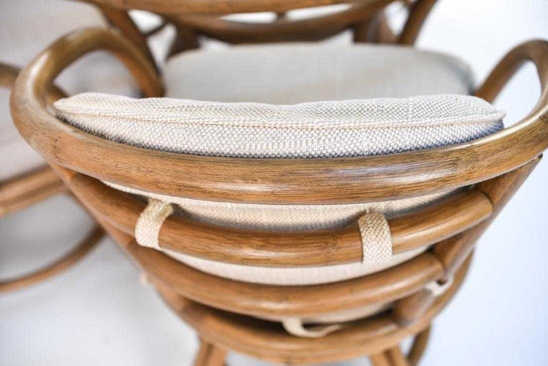Hardwood Brown Jordan Bentwood Rattan Table and Chairs Set For Sale