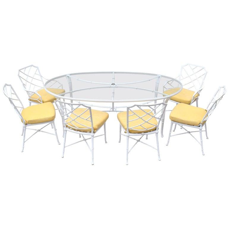 Brown Jordan Calcutta Faux Bamboo Dining Table & Six Chairs