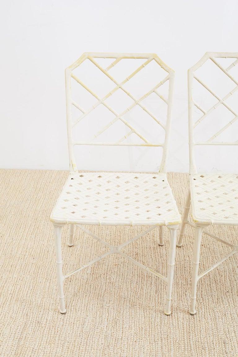 Hollywood Regency Brown Jordan Calcutta Faux Bamboo Garden Chairs For Sale
