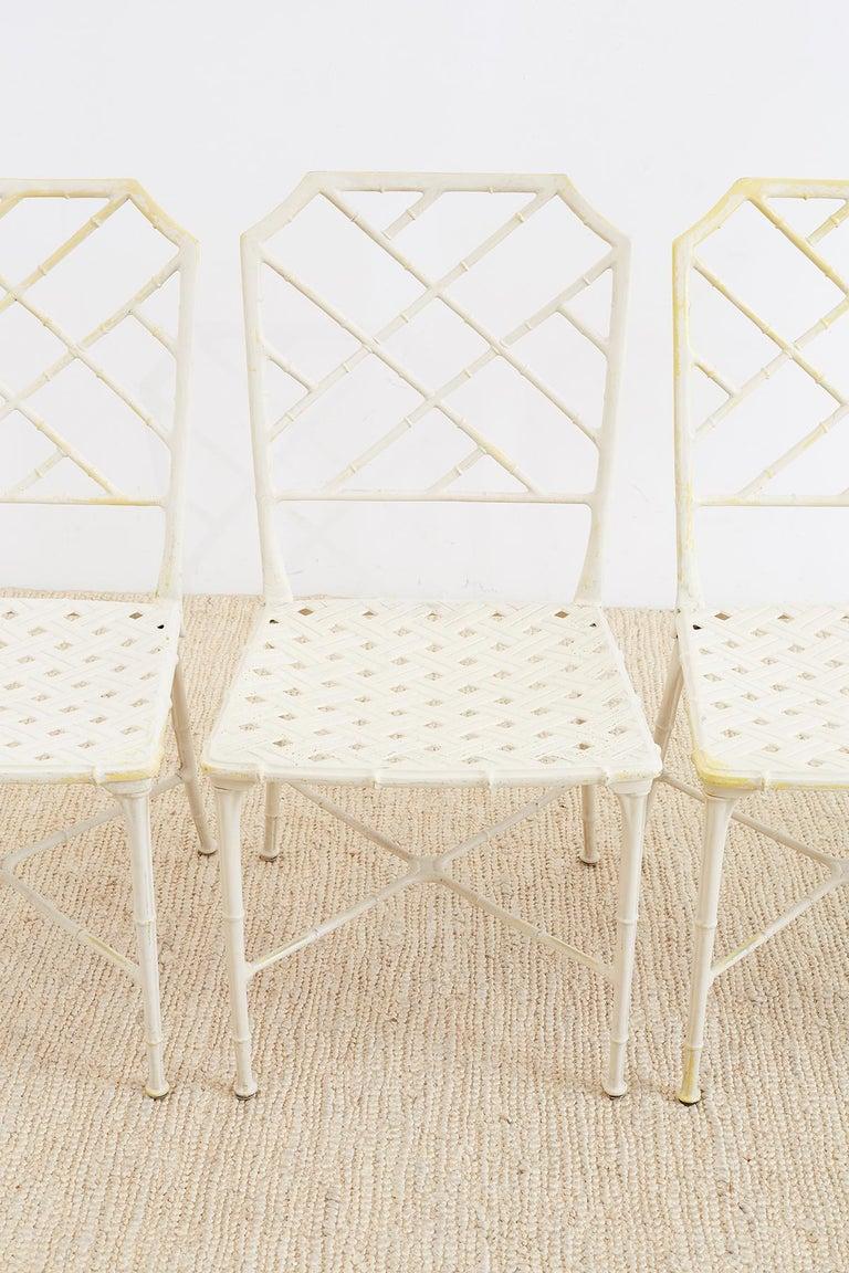 American Brown Jordan Calcutta Faux Bamboo Garden Chairs For Sale