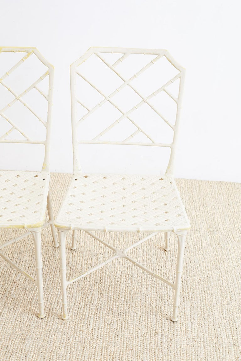 Brown Jordan Calcutta Faux Bamboo Garden Chairs In Good Condition For Sale In Oakland, CA