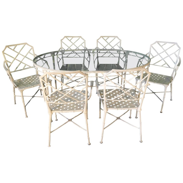 Brown Jordan Calcutta Metal Faux Bamboo Dining Table And Chairs For