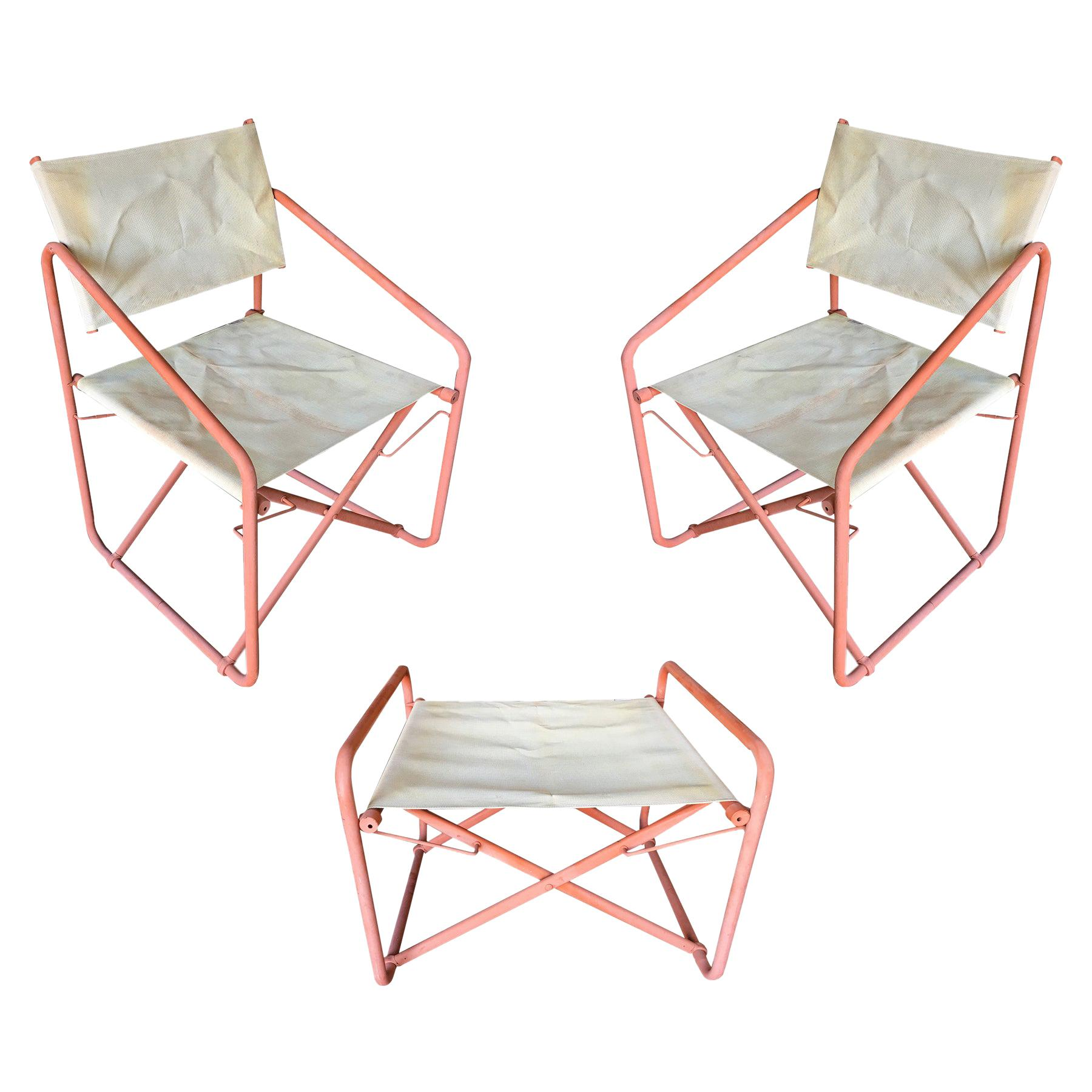 """Brown Jordan """"Nomad"""" Folding Patio Director Chairs and Side Table Set"""
