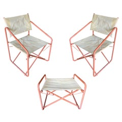 "Brown Jordan ""Nomad"" Folding Patio Director Chairs and Side Table Set"