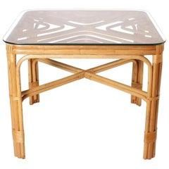 Brown Jordan Rattan Table, circa 1960