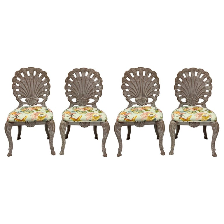 Brown Jordan Style Shell Form Grotto Inspired Outdoor Dining Chairs, Set of 4 For Sale
