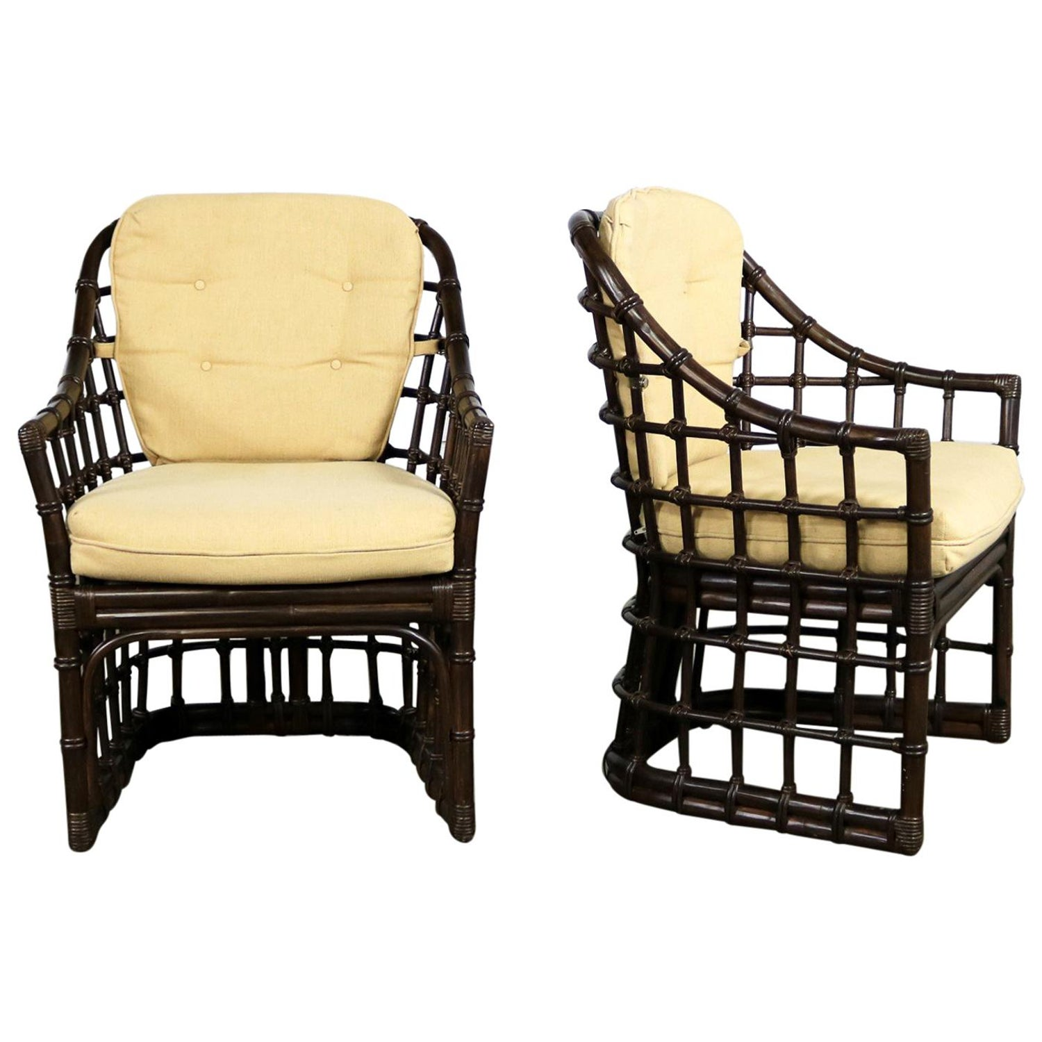 Brown jordan windowpane dark brown rattan lounge chairs with straw color cushion for sale at 1stdibs