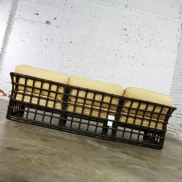 Brown Jordan Windowpane Dark Brown Rattan Sofa With Straw