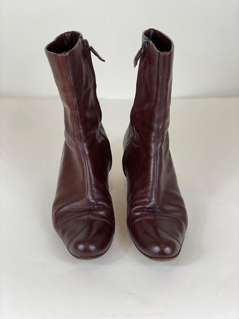 Black Brown Kitten Heel Bootie Size 8 For Sale