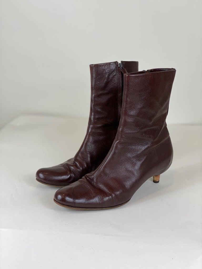 Brown Kitten Heel Bootie Size 8 For Sale 1