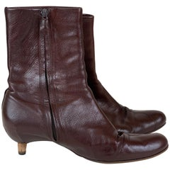 Brown Kitten Heel Bootie Size 8