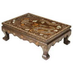 Brown Lacquer and Mother of Pearl Inlaid Low Table