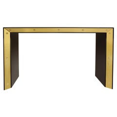Brown Lacquered Console with Brass Accents