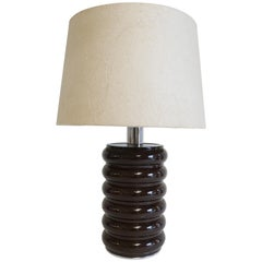 Brown Lacquered Metal Curvilinear Lamp