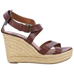Brown Lanvin Leather Strappy Wedge Espadrilles