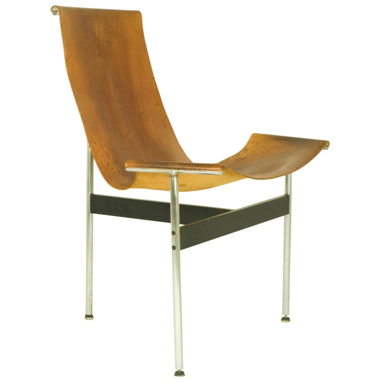 "Brown Leather and Chrome Metal 3LC ""T Chair"", 1960s by D. Kelly & W. Katavolos For Sale"