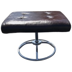 Brown Leather and Chrome Plycraft Ottoman