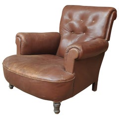 Brown Leather Armchair, Circa France, 1900