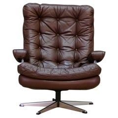 Brown Leather Armchair Danish Design Leather Vintage, 1960s