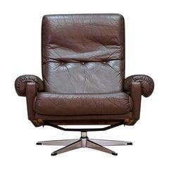 Brown Leather Armchair Vintage 1960s Danish Design Retro