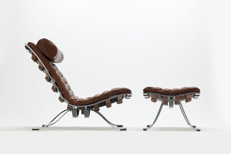 Lounge Stoel Hocker.Brown Leather Arne Norell Ari Lounge Chair And Ottoman At 1stdibs