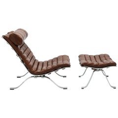 Brown Leather Arne Norell Ari Lounge Chair and Ottoman