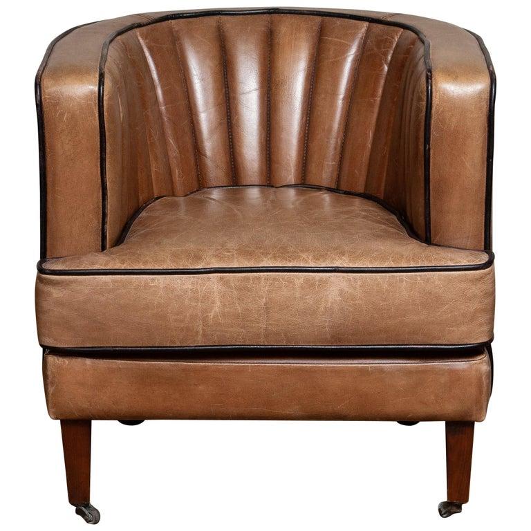 Danish Brown Leather Art Deco Club Lounge Chair, Denmark, 1950s