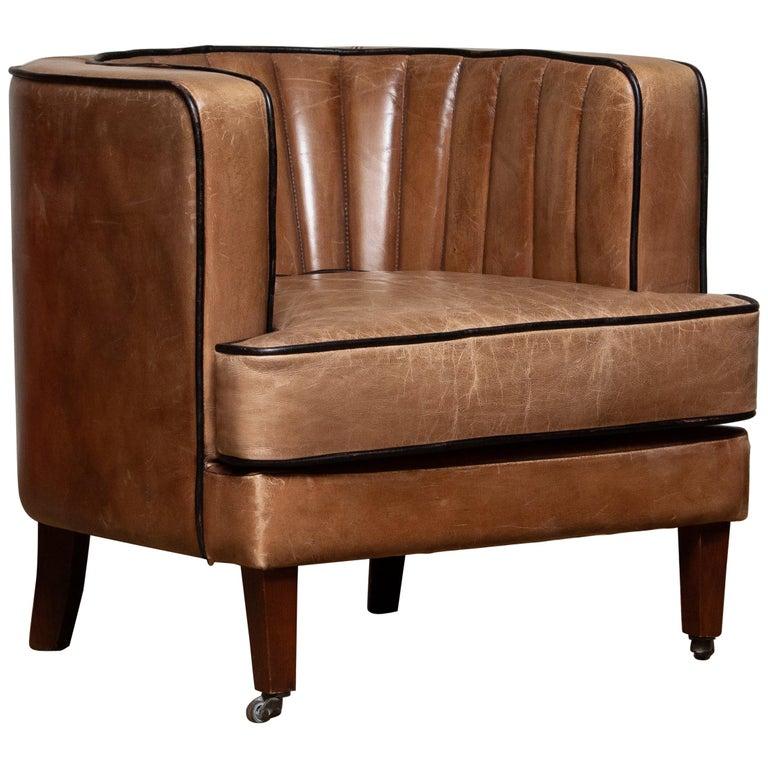 Brown Leather Art Deco Club Lounge Chair, Denmark, 1950s In Good Condition In Silvolde, Gelderland